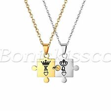 """""""King and Queen"""" Crown Stainless Steel Puzzle Couples Pendant Necklace Chain Set"""