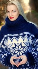 Hand knitted blue mohair sweater Icelandic turtleneck Nordic jumper SUPERTANYA