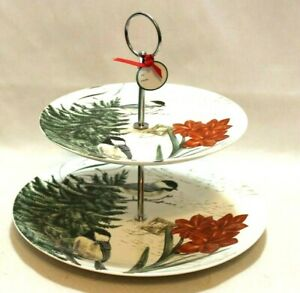 Grace Teaware Amaryllis Red Floral Porcelain Round Two Tier Server Tray New