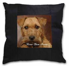 More details for lakeland terrier dog 'love you mum' black border satin feel cushi, ad-lt2lym-csb