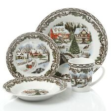 Gibson Home Christmas Holiday Winter Scenery Toile 16 Piece Round Dinnerware Set