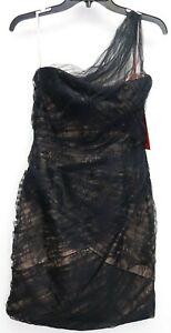 New Nordstrom x Monique Lhuillier Black Lace Chiffon One Shoulder Dress Sz 8