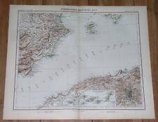 1905 ORIGINAL ANTIQUE MAP OF SPAIN MURCIA ALICANTE MADRID IBIZA CANARY ISLANDS