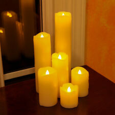 Set of 6pcs Wax Dripping Effect LED Dancing Flame Wick Candle Mood Lights Pillar