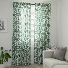 """ALPKLÖVER Ikea Green White Floral Pattern 57x98"""" Pair of Curtains Window Panels"""