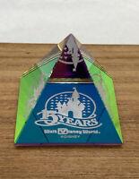 "Walt Disney World 15 Years Souvenir Glass Pyramid, Rare Collectible 1.5"" Tall"