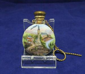 Antique Victorian Lourdes France Porcelain Hand Painted Perfume Scent Bottle