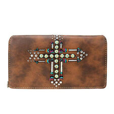 Montana West Women's Clutch Try Fold Wallet - Coffee Native Arrow Cross