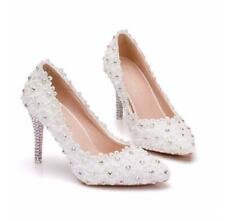 White Lace Flowers Pumps Women's Wedding Shoes Pumps Rhinestones High Heels