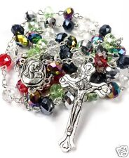 Catholic Rosary Multi Color Beads Necklace with Holy Soil Medal & Metal Cross