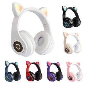 Bluetooth5.0 Wireless Cat Rabbit Ear Headset LED w/Mic Headphone For Kids Girls*