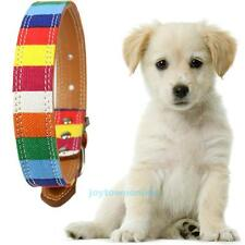 Adjustable Durable Rainbow Leather Pet Dog Puppy Collar Tag Alloy Buckle S/M/L