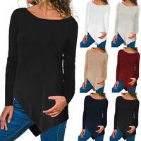 Women Baggy Asymmetric Top T Shirt Tee Plain Basic Pullover Long Crewneck Blouse