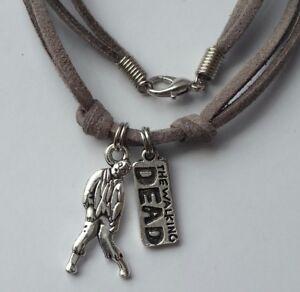 Leather Necklace Walking Dead Zombie Inspiration Pendant Men's Woman Choker Gray
