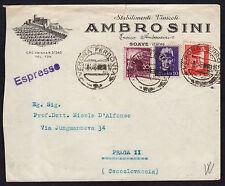STORIA POSTALE LUOGOTENENZA 1946 Espresso da Verona a Praga (FGX)