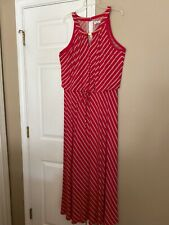 CALVIN KLEIN Red & Beige Stripe Front Tie Sleeveless Maxi Dress Sz 18W