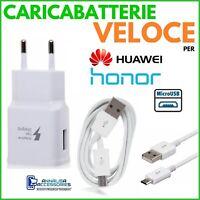 CARICABATTERIE VELOCE FAST per HUAWEI HONOR 7A PRESA MURO + CAVO MICRO USB