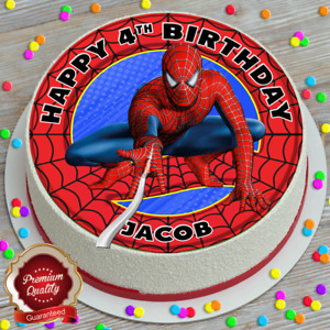 SPIDER-MAN HAPPY BIRTHDAY PERSONALISED 7.5 INCH EDIBLE CAKE TOPPER B-175G