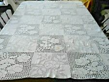 Snow White Hand Crochet Lace Tablecloth, Circa1930