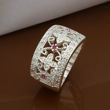 925 Sterling Silver Pink Zirconia Ring Size 8 B37