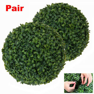 Pair Artificial Hanging Topiary Balls Green Boxwood Buxus Grass Plant Ball Decor