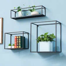 Set of 3 Retro Industrial Style Black Wall Metal Wire Shelves Storage Wall Unit