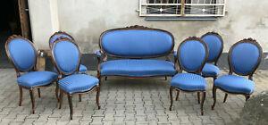 sehr schöne Louis Phillipe Sitz Garnitur Sessel 6 Stühle Nussbaum Top