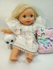 """14"""" Mattel Little Mommy Doll Blond Hair Blue Eyes Soft Body doggy and pillow"""