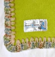 Baby Blanket Project Linus Throw 38 x 55 Green Fleece Crochet Security Infant