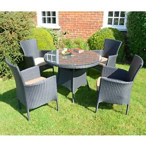 """BYRON MANOR """"STOCKHOLM"""" TABLE & 4 CHAIRS in BLACK RESIN-WEAVE, 40% OFF LAST SET!"""