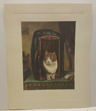 Vintage Lithograph Cat Art Print H. Wilde Out of the Bag