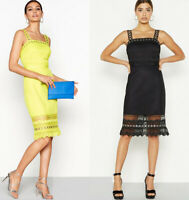 Debenhams Yellow & Black Lace Mesh Bodycon Wedding Evening Party Going Out Dress