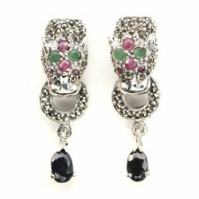 Awesome 6x4mm Sapphire Emerald Ruby Marcasite 925 Sterling Silver Tiger Earrings