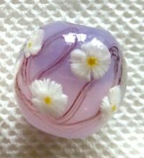 10pcs exquisite handmade Lampwork glass  beads light purple flower round 14mm