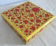 Handmade Painted Wooden Lined Jewellery / Trinket Box (Ornate Floral Design)