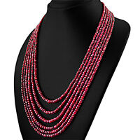 RARE 589.15 CTS NATURAL RICH RED RUBY 6 STRAND ROUND FACETED BEADS NECKLACE