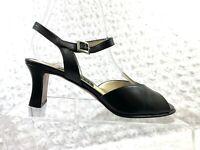 Women's Fratelli Rossetti Black Leather Peep Toe Ankle Buckle Heel Size 7.5M