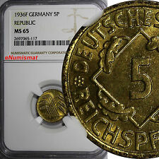 Germany,Weimar Republic 1936-F 5 Reichspfennig NGC 65 TOP GRADED BY NGC KM# 39