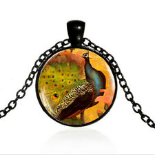 Victorian Style Peacock Black Dome glass Photo Art Chain Pendant Necklace