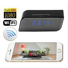 Wifi Wireless HD Mirror Alarm Clock Night Version Web Cam Remote Control Camera