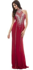 NWT $538 Mac Duggal Red Jersey Hook Eye Rhinestone Jersey BHFO Prom  Dress 6