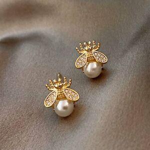 Fashion Crystal Gold Bee Pearl Earrings Ear Stud Women Girl Wedding Party Gift