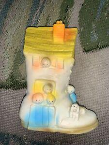 "Vintage Sani-Toy ""Old Woman Who Lived a Shoe""  Nursery Rhyme Piggy Bank Plastic"