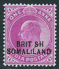 SOMALILAND PROTECTORATE 1903 EDVII 1a carmine hinged mint showing - 10986