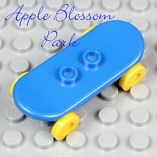 NEW Lego Minifig BLUE SKATEBOARD -Minifigure Boy Skate Board Toy w/Yellow Wheels