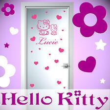HELLO KITTY sticker mural porte chambre 30cm, prénom 30cm, 25 coeurs! 13 coloris