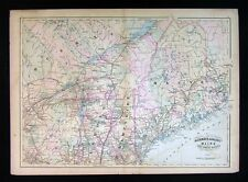 1872 Asher & Adams Map - Maine New Hampshire Vermont New York Quebec Canada USA