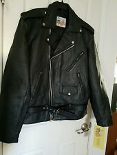 NWT EXCELLED BIKER BELT BLACK LEATHER JACKET COAT size 40 Tall motorcycle