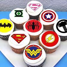 Superhero Logo Edible Icing Cupcake Toppers  - PRE-CUT - Sheet of 15