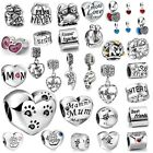 925 Silver Enamel European Charms Family Mom Love Bead Fit Bracelet Necklace